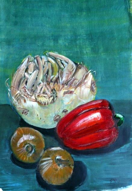 paprika, uien en knolsellerij